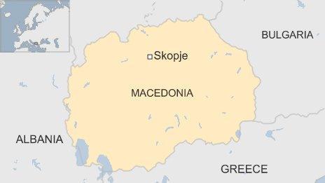 Map of Skopje in Macedonia