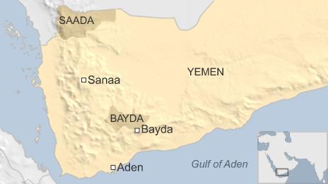 Map of Yemen showing Bayda