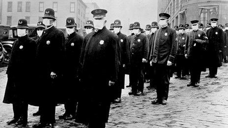 Police officers in Washington wearing masks