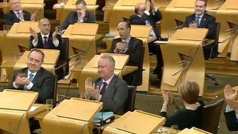 MSPs applauded after plans to allow same-sex marriages passed by 105 votes to 18 in February