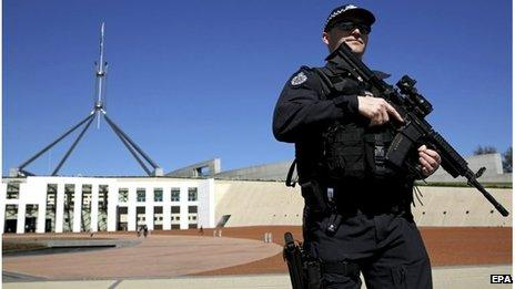 Armed policeman outside Parliament House in Canberra (Sept 2014)