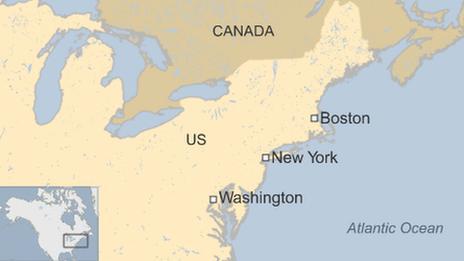 Map of US north east coast