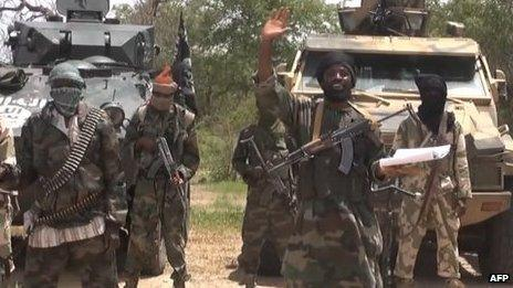 A screengrab taken on July 13, 2014 from a video released by the Nigerian Islamist extremist group Boko Haram and obtained by AFP shows the leader of the Nigerian Islamist extremist group Boko Haram, Abubakar Shekau