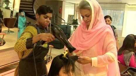 Beauticians at work in Musarat Misbah's salon