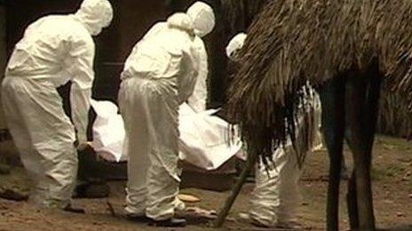 A burial team in Gbantama, Sierra Leone