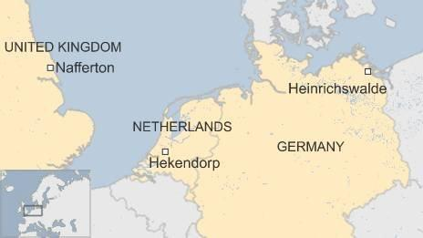 Map showing the three outbreak spots in the Netherlands, UK and Germany