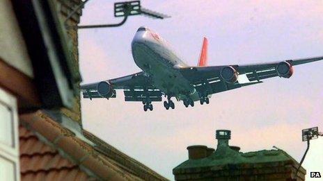 Aircraft over houses at Heathrow