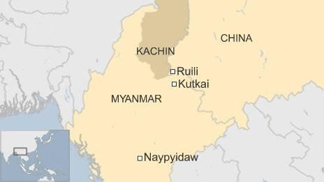 Map of Myanmar-China border region