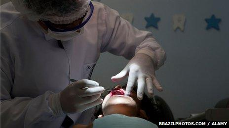 A dentist in Brazil looks into a young girl's mouth