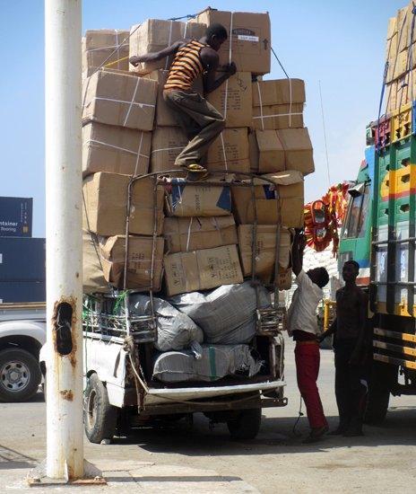 Heavily loaded truck