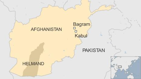 Map of Afghanistan showing Kabul and Bagram and Helmand province