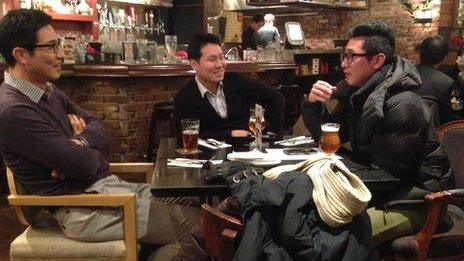 Three men drinking in Reilly's tap house