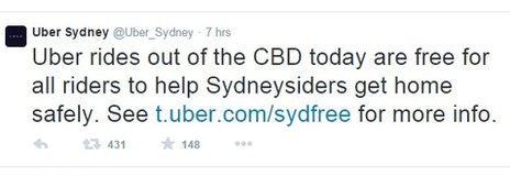 Uber Twitter message