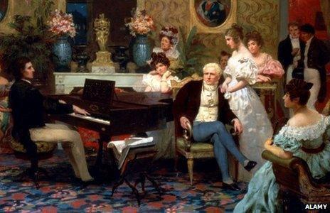 Chopin Playing the Piano in Prince Radziwill's Salon, 1887. Artist: Siemiradzki, Henryk