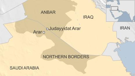 Map showing border regions of Saudi Arabia and Iraq