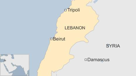 Map of Lebanon showing the capital Beirut and the northern city of Tripoli - 10 January 2015