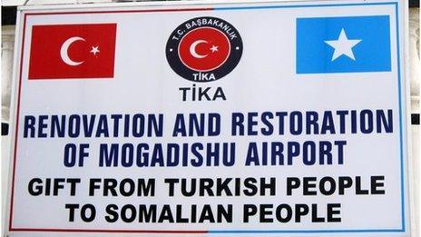 Sign at the airport in Mogadishu, Somalia