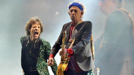 Mick Jagger and Keith Richards at Glastonbury Festival