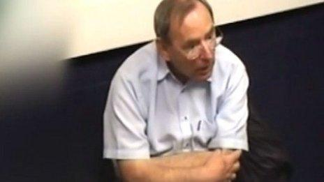 Fred Talbot being interviewed by police in 2013