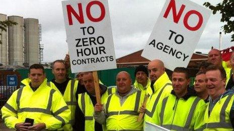 Protest over zero-hours contracts