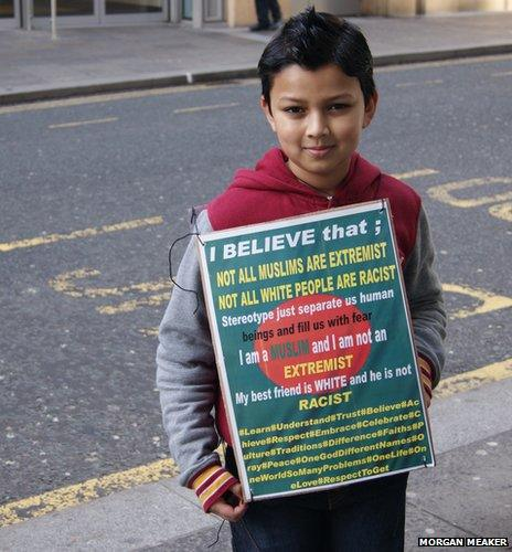 Young boy at anti-Pegida protest