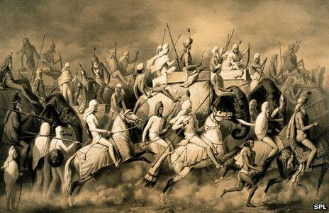 Maharaja Sher Singh of the Punjab and his entourage out hunting
