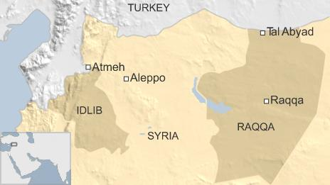 Map showing Atmeh and Tal Abyad in Syria