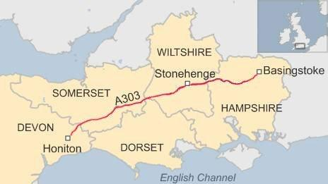 Map showing the A303