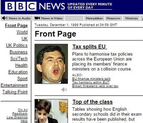 BBC News site in 1998