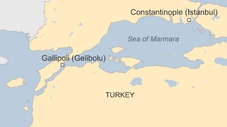 Map showing the Gallipoli peninsula and the Sea of Marmara