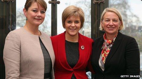 Sturgeon, Leanne Wood and Natalie Bennett