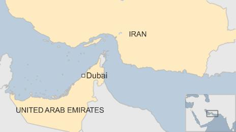 Map showing Dubai in relation to Iran and UAE