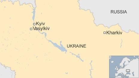 Map of Vasylkiv outside Kiev in Ukraine
