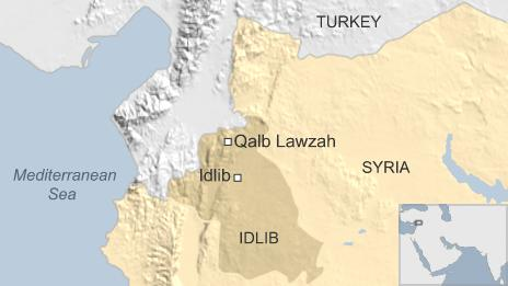 Map of Syria showing location of Qalb Lawzah