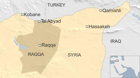 Map of Syria showing location of Tal Abyad