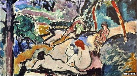 A reproduction of Pastorale, Nymphe et Faune painted by Henri Matisse in 1906