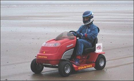 Don Wales testing the prototype lawnmower at Pendine sands