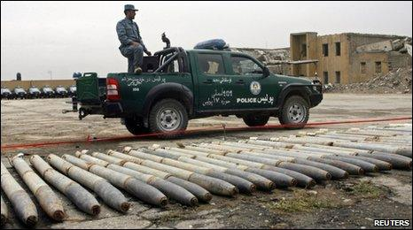 Rockets put on display for the media by the police in Kabul May 22, 2010