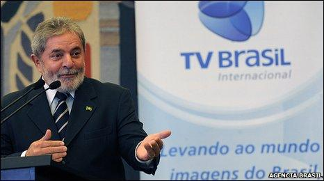 President Lula speaking at the launch of TV Brasil Internacional