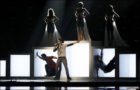 Josh Dubovie rehearses for the Eurovision Song Contest