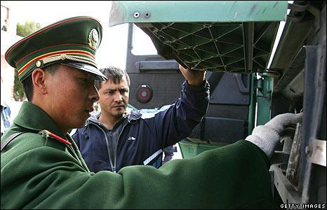 Chinese inspection at Khorgos border post - file pic