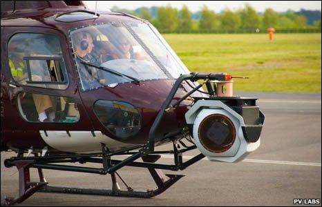 Digital camera used in defence surveillance mounted on the nose of a helicopter