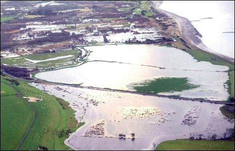 Flooding on the A499 at Penrhos just outside Pwllheli