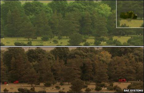 Hyperspectral image of a tank in vegetation