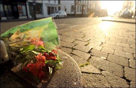 Floral tributes at murder scene in Whitehaven