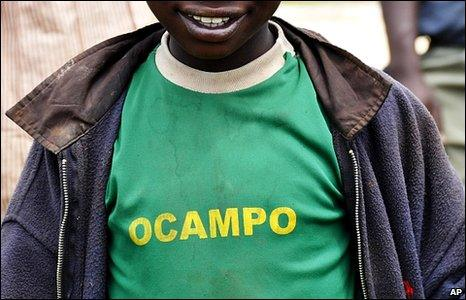 Unidentified Kenyan boy wearing a T-shirt with the name of International Criminal Court Prosecutor Luis Moreno-Ocampo on it