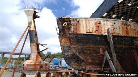 The Calypso, Jacques Cousteau's research vessel, was badly damaged in 1996