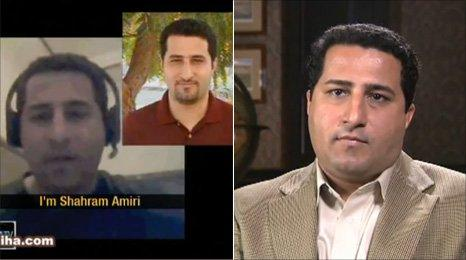 Screen grabs from the two videos, Iranian TV (l) and YouTube (r)