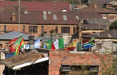 Flags flying in Soweto, South Africa