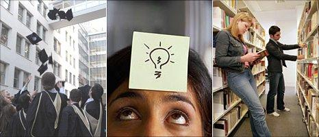 Students at graduation, ideas note, students in a library